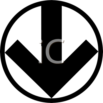 Royalty Free Clipart Image of a Black and White Arrow in a Circle Symbol Pointing Down