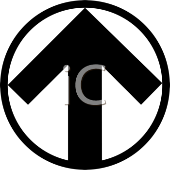 Royalty Free Clipart Image of a Black and White Arrow in a Circle Symbol Pointing Up