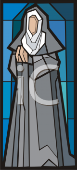 Royalty Free Clipart Image of a Nun