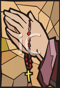 Royalty Free Clipart Image of a Person Holding a Rosary