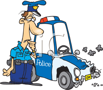 Royalty Free Clipart Image of a Policeman With a Smashed Car
