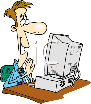 Royalty Free Clipart Image of a Happy Man at a Computer