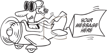Royalty Free Clipart Image of a Pilot in an Airplane