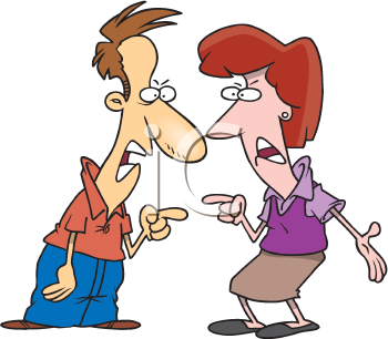 Royalty Free Clipart Image of a Couple Fighting