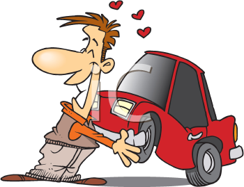 Royalty Free Clipart Image of a Man Who Loves His Car