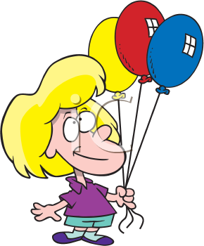 Royalty Free Clipart Image of a Child With Balloons