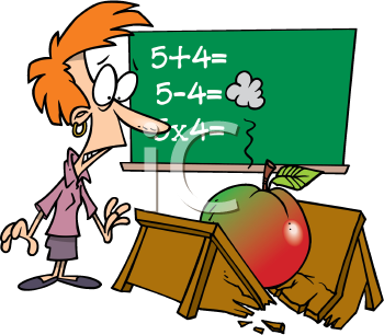 Royalty Free Clipart Image of a Big Apple Breaking a Teacher's Desk