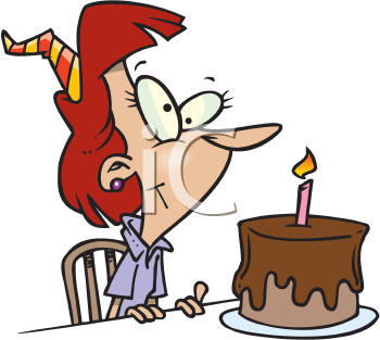 Royalty Free Clipart Image of a Woman With a Birthday Cake