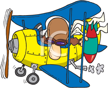 Royalty Free Clipart Image of a Man in a Plane Dropping a Bomb