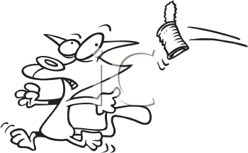 Royalty Free Clipart Image of a Cat Running From a Can