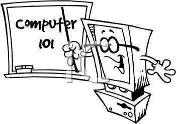 Royalty Free Clipart Image of a Computer Teacher