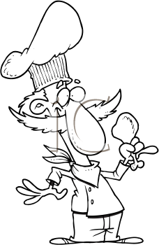 Royalty Free Clipart Image of a Cook With a Chicken Leg
