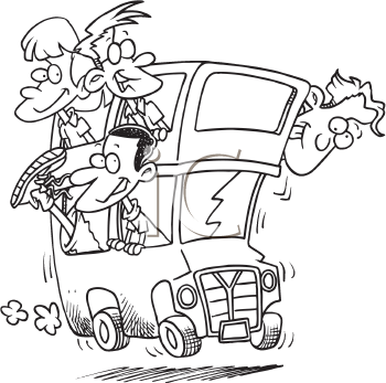 Royalty Free Clipart Image of People Riding on a Bus