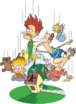 Royalty Free Clipart Image of People Dropping In