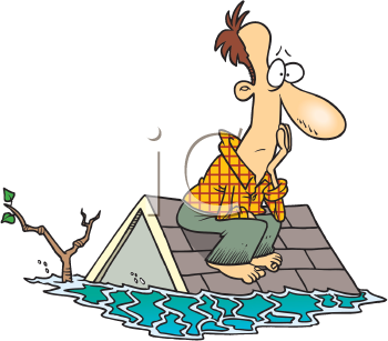 Royalty Free Clipart Image of a Man on a Roof in a Flood