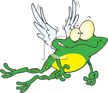 Royalty Free Clipart Image of a Flying Frog