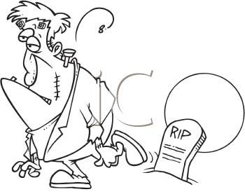 Royalty Free Clipart Image of Frankenstein at a Tombstone
