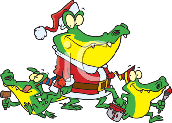 Royalty Free Clipart Image of a Santa Gator and His Gator Elves