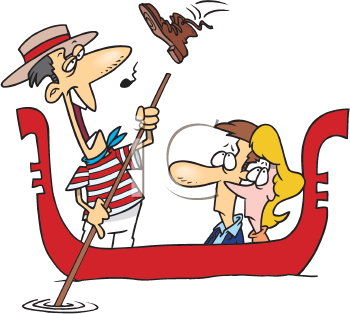 Royalty Free Clipart Image of a Boot Being Thrown at a Gondolier