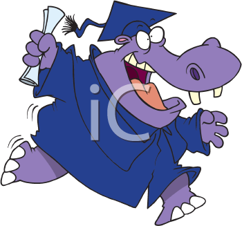 Royalty Free Clipart Image of a Hippo Graduate