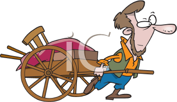 Royalty Free Clipart Image of a Man Pulling a Handcart