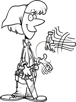 Royalty Free Clipart Image of a Woman With Tools