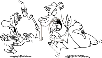 Royalty Free Clipart Image of a Bear Chasing a Hunter