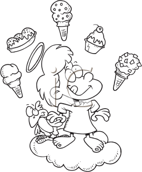 Royalty Free Clipart Image of an Angel Thinking About Ice-Cream