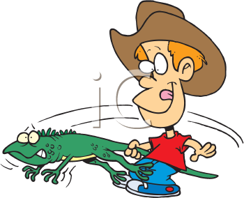 Royalty Free Clipart Image of a Boy Swinging an Iguana