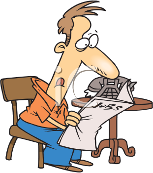 Royalty Free Clipart Image of a Man Searching for Work