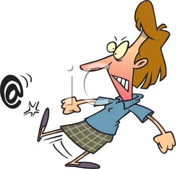 Royalty Free Clipart Image of a Woman Kicking an Email Symbol
