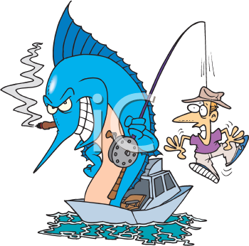 Royalty Free Clipart Image of a Marlin Catching a Man