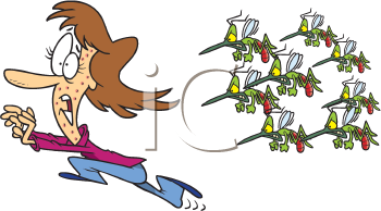 Royalty Free Clipart Image of a Person Being Chased by Mosquitoes