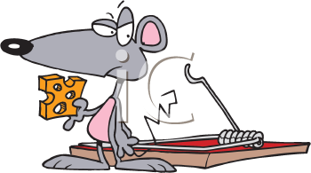 Royalty Free Clipart Image of a Mouse Beside a Trap
