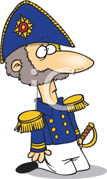 Royalty Free Clipart Image of an Admiral on His Knees