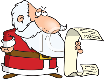 Royalty Free Clipart Image of Santa With His List