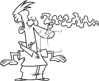 Royalty Free Clipart Image of a Man Using a Clothespin to Plug His Nose