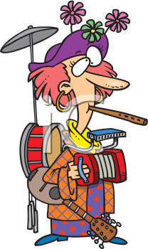 Royalty Free Clipart Image of a One Woman Band