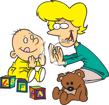 Royalty Free Clipart Image of a Mom and Child Playing Pat-a-Cake
