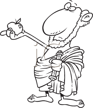 Royalty Free Clipart Image of a Man in a Toga With an Apple