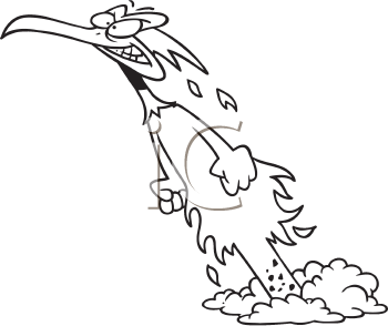 Royalty Free Clipart Image of a Phoenix Rising From the Ashes