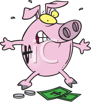 Royalty Free Clipart Image of a Piggy Bank and Money