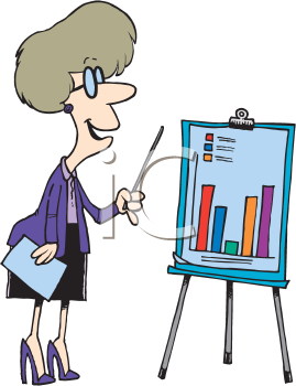 Royalty Free Clipart Image of a Woman Making a Presentation