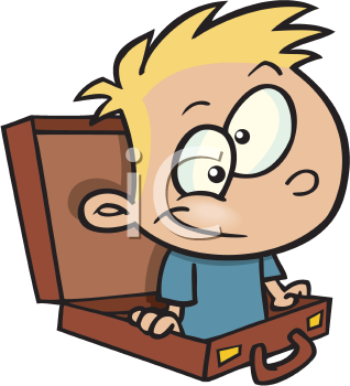 Royalty Free Clipart Image of a Child in a Suitcase