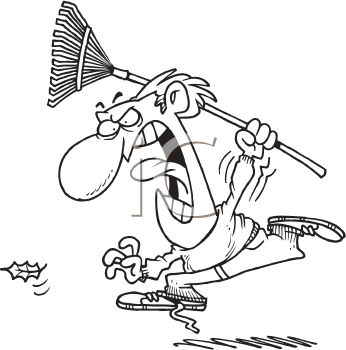 Royalty Free Clipart Image of a Man With a Rake Chasing a Leaf