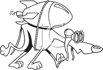 Royalty Free Clipart Image of a Hound With a Rocket Strapped to its Back