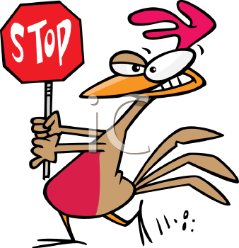 Royalty Free Clipart Image of a Chicken Holding a Stop Sign