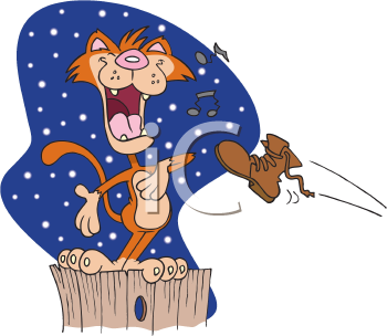 Royalty Free Clipart Image of a Cat Singing and a Boot Being Thrown