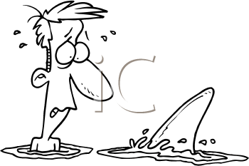 Royalty Free Clipart Image of a Man and a Shark