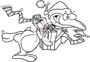 Royalty Free Clipart Image of a Christmas Shopping Penguin